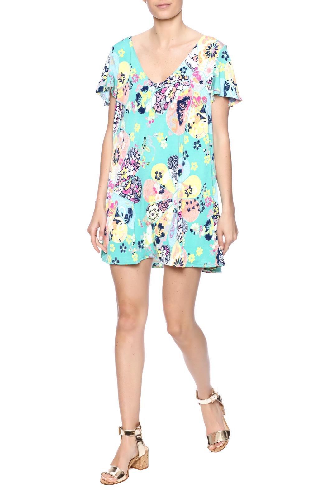 Judith March Japanese Floral Dress - Front Full Image