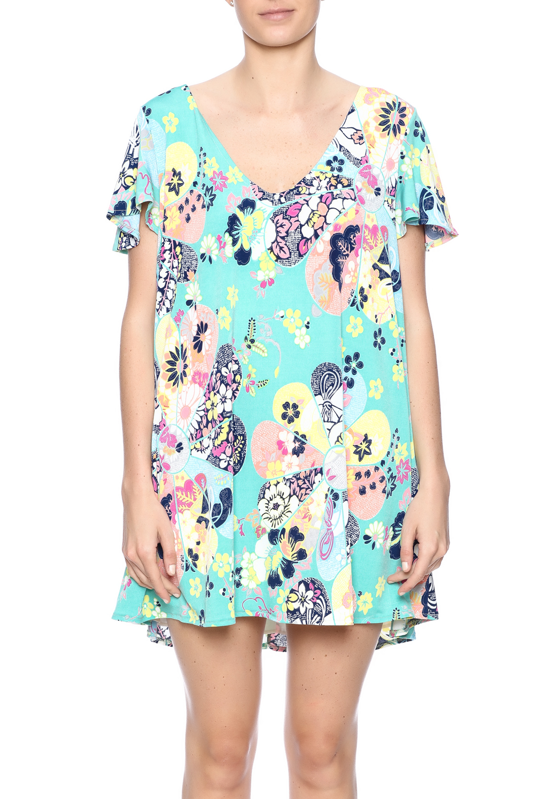Judith March Japanese Floral Dress - Side Cropped Image