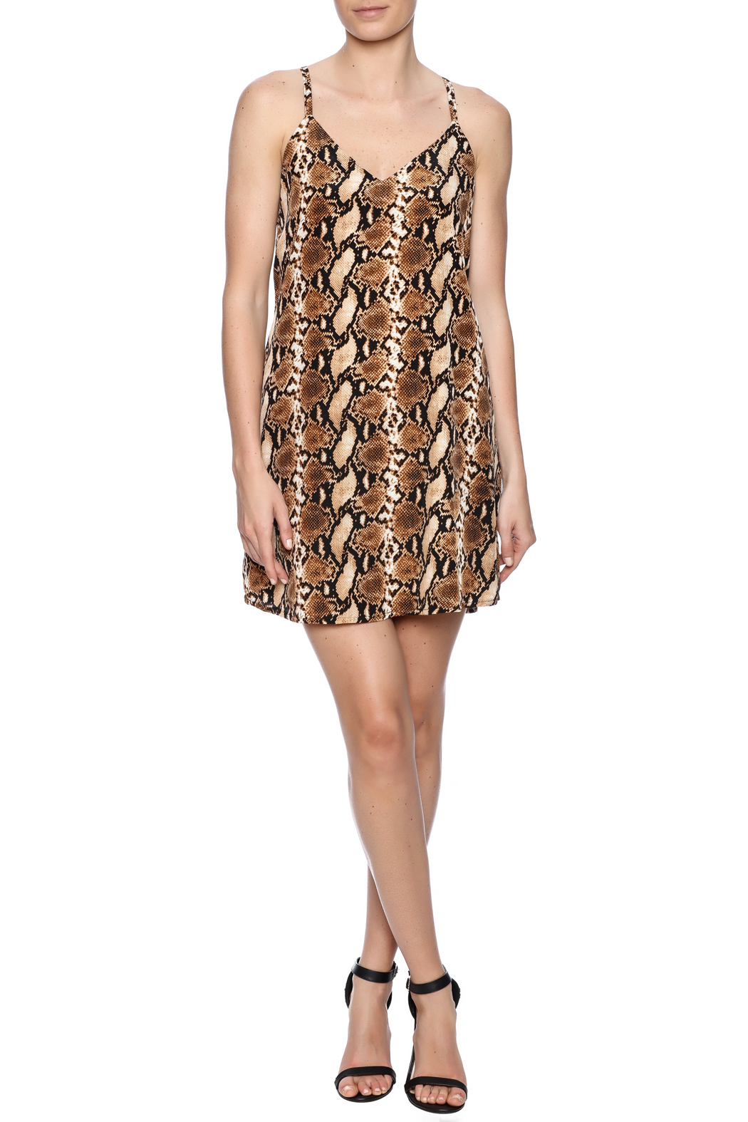 Judith March Snakeskin Shift Dress - Front Full Image