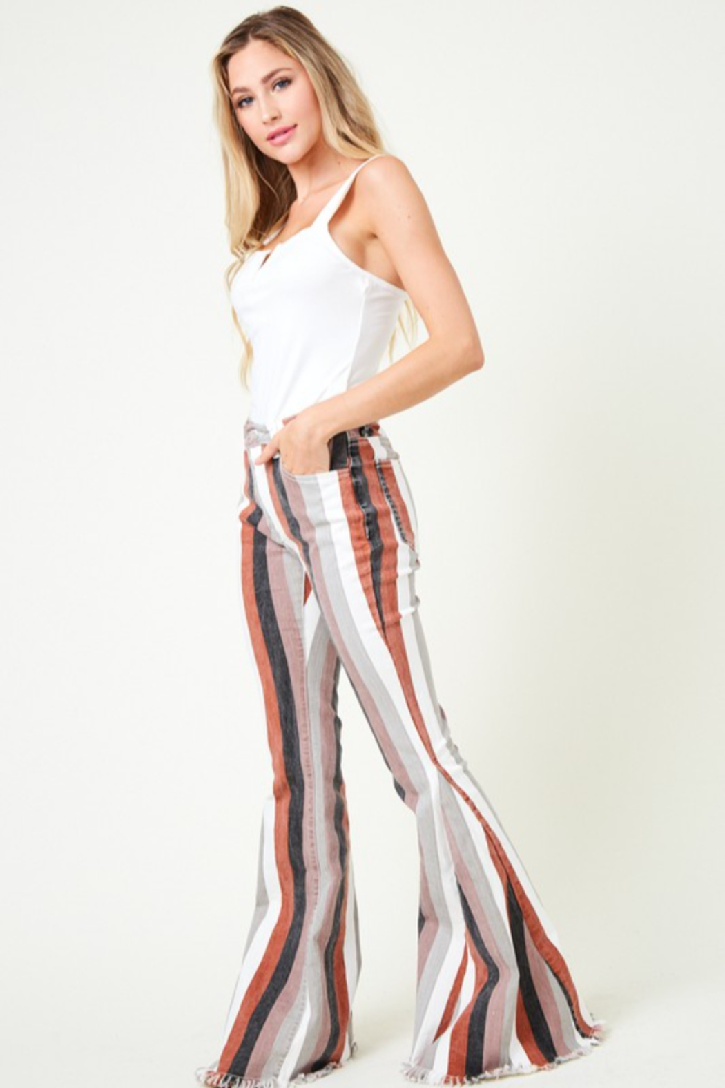 saints and hearts Judith Striped Bell Bottoms - Side Cropped Image