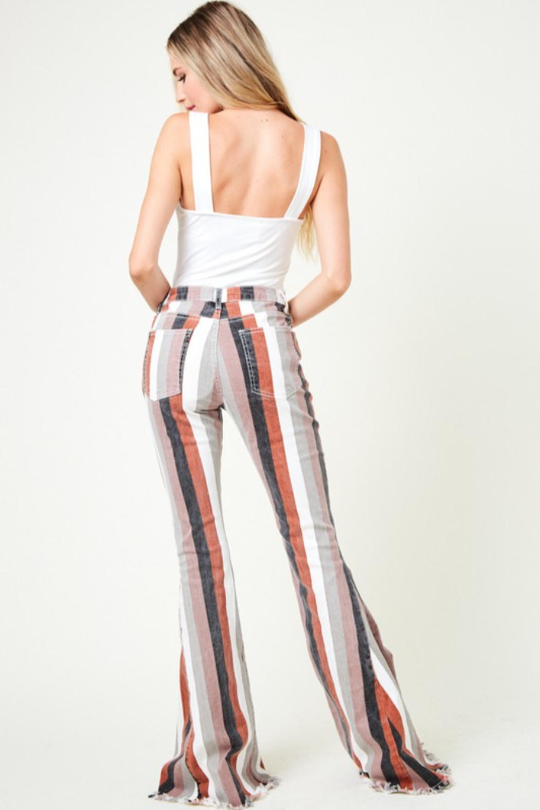 saints and hearts Judith Striped Bell Bottoms - Back Cropped Image