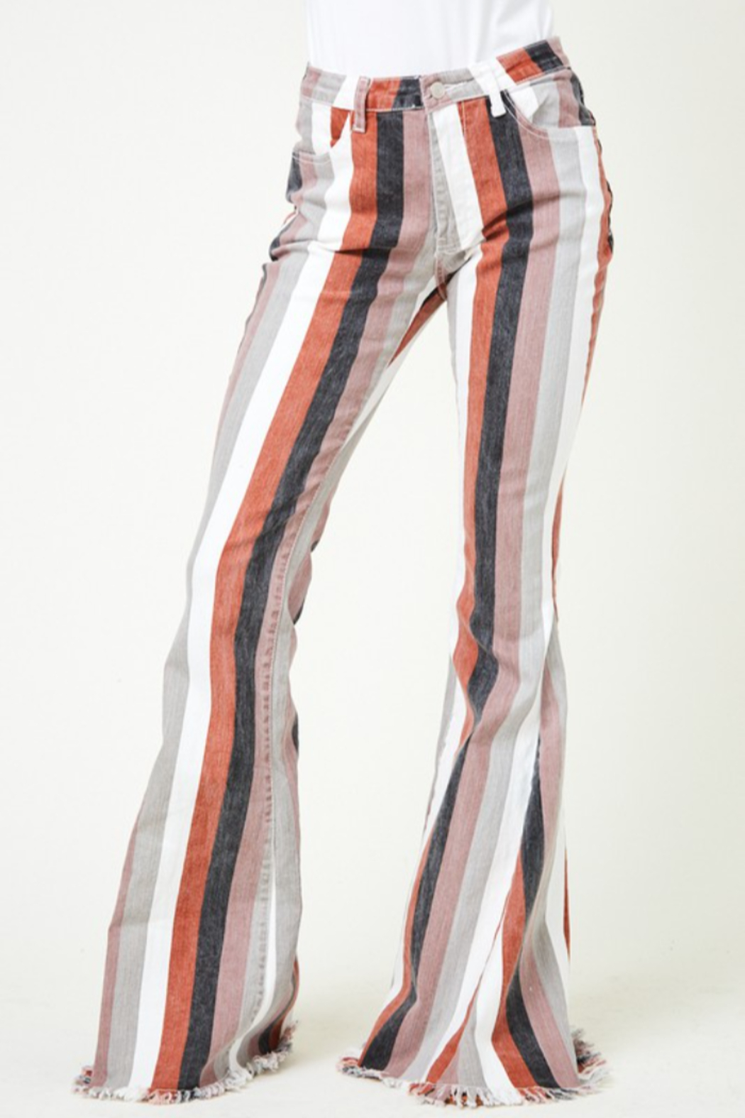saints and hearts Judith Striped Bell Bottoms - Front Full Image