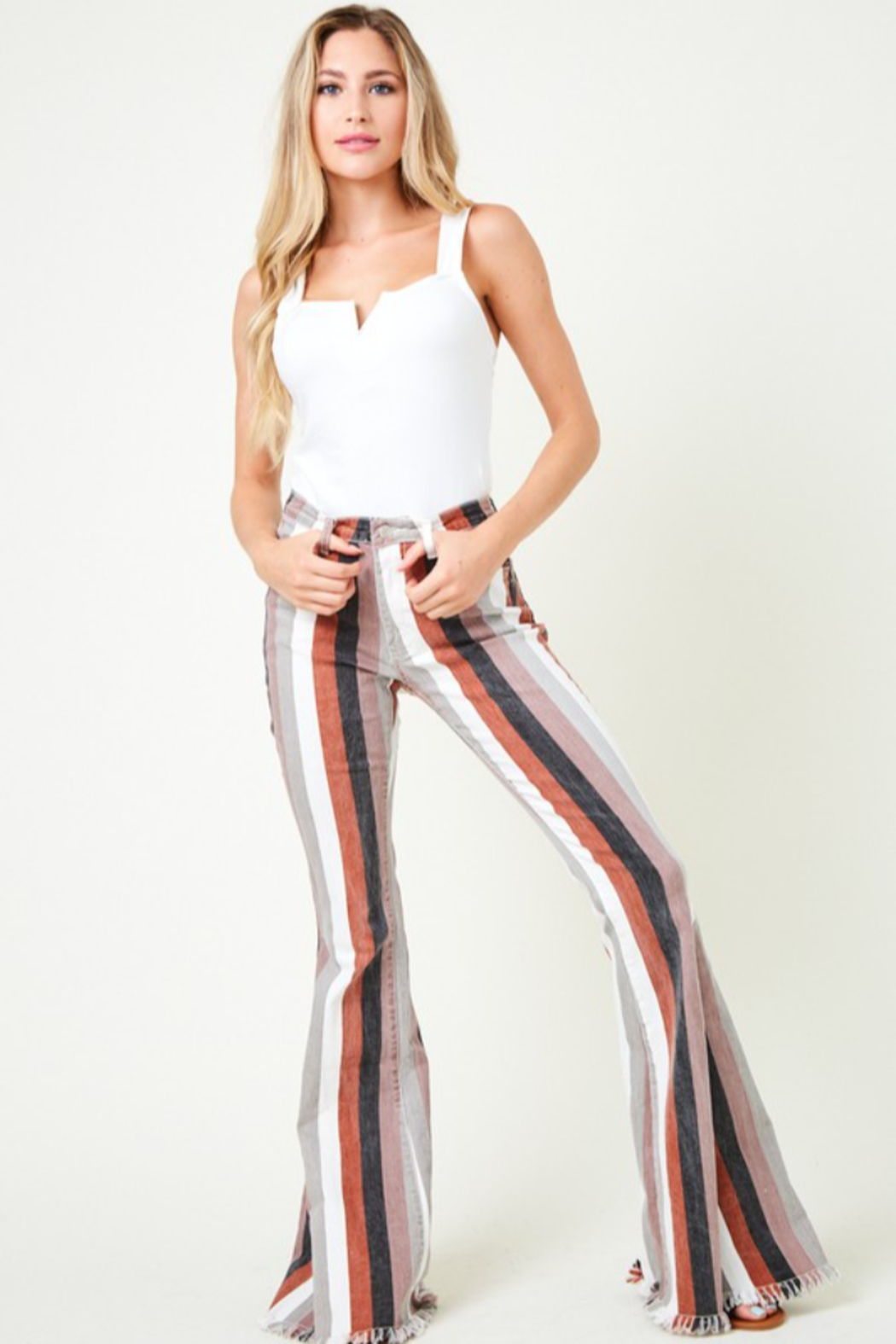 saints and hearts Judith Striped Bell Bottoms - Main Image