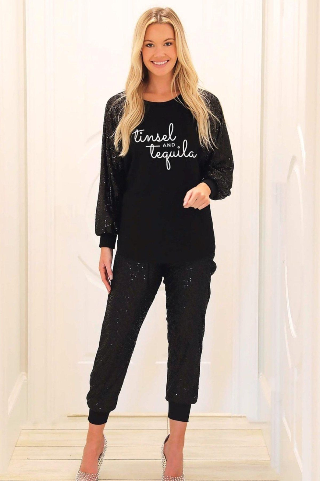 Judith March Black Sequin Joggers - Main Image