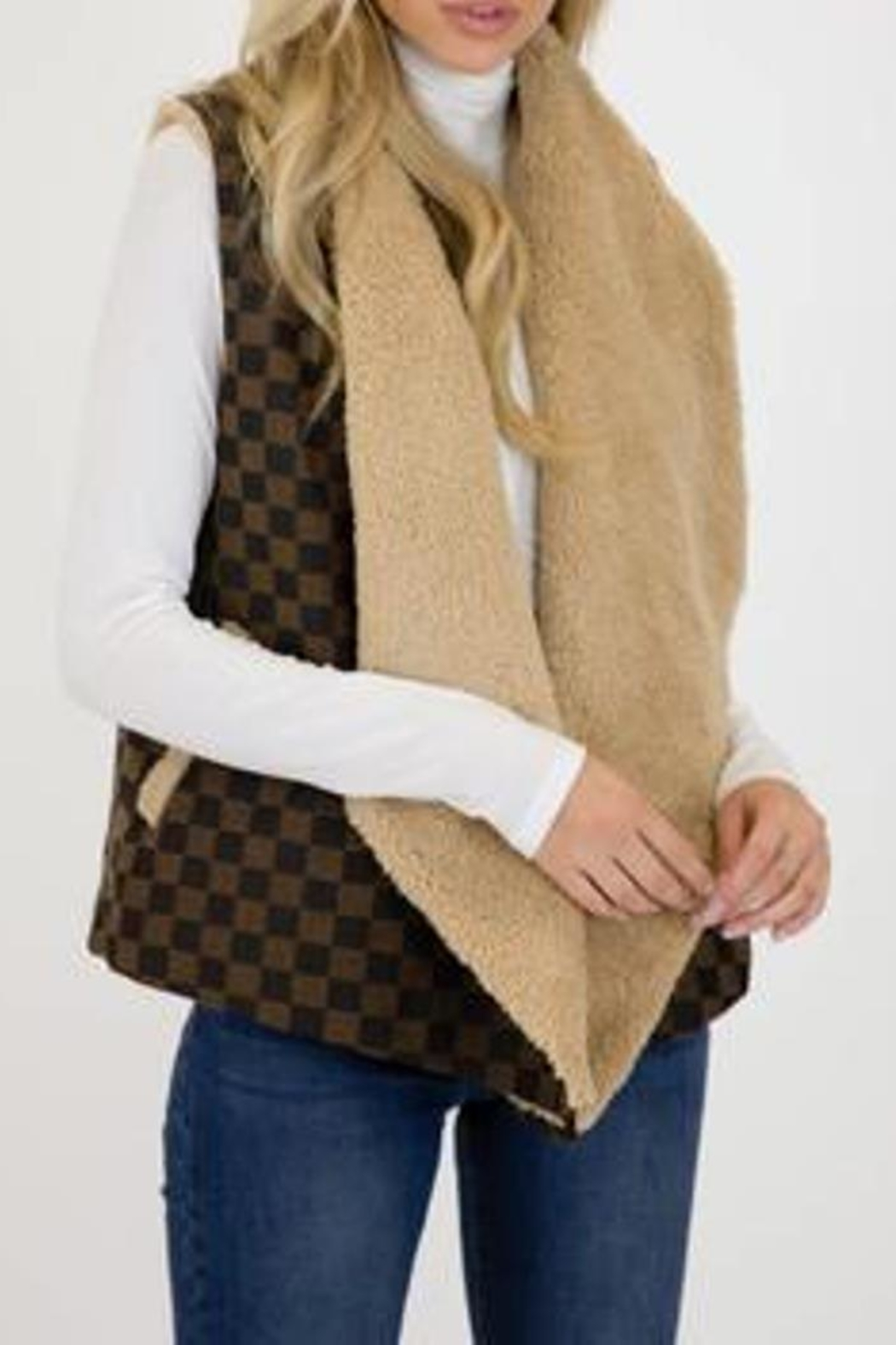 Judith March Checkmate Jacquard Vest - Front Full Image