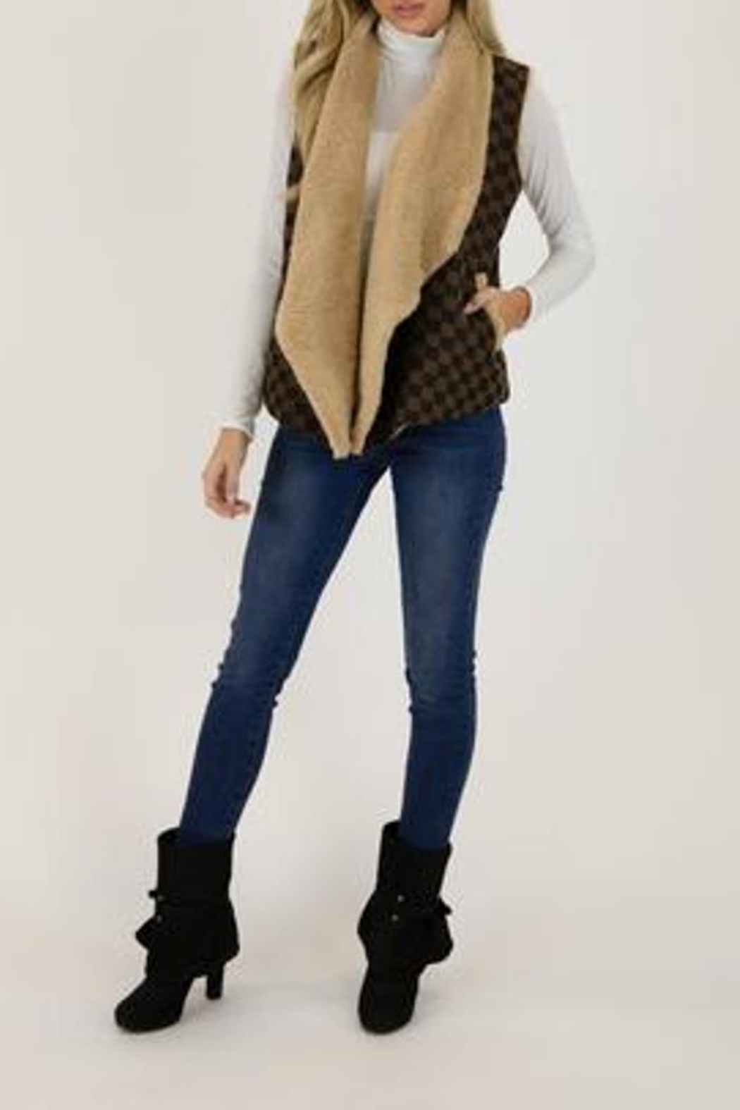 Judith March Checkmate Jacquard Vest - Back Cropped Image