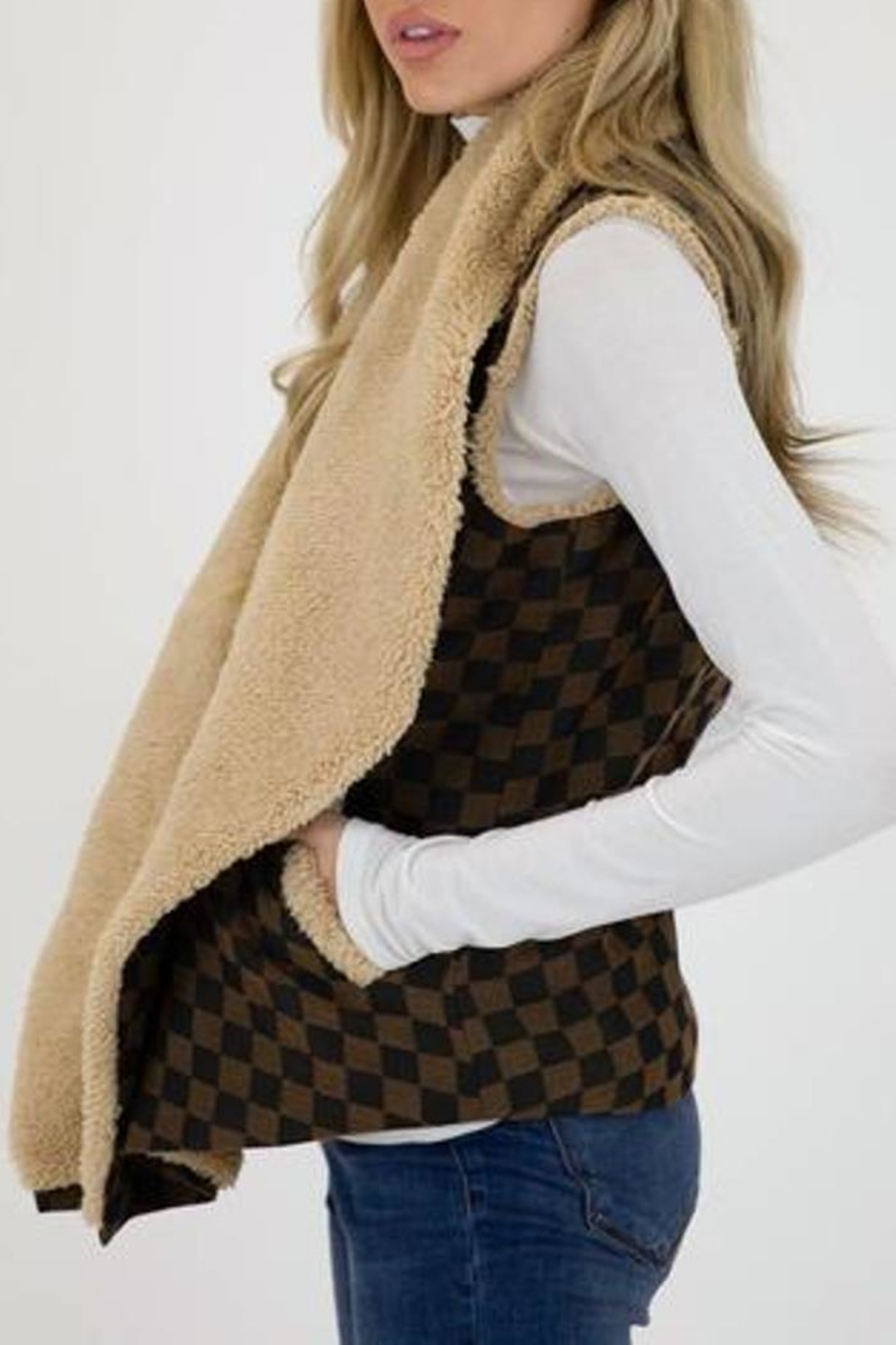 Judith March Checkmate Jacquard Vest - Side Cropped Image