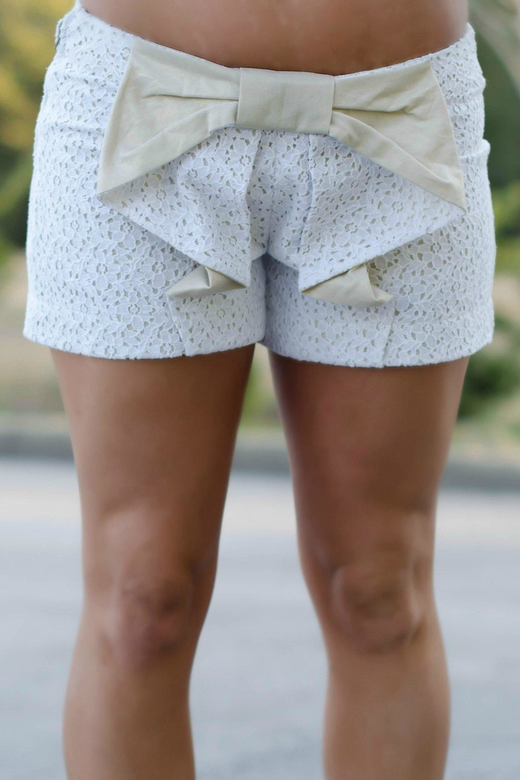 Judith March Lace/linen Cascadingbow Shorts - Main Image
