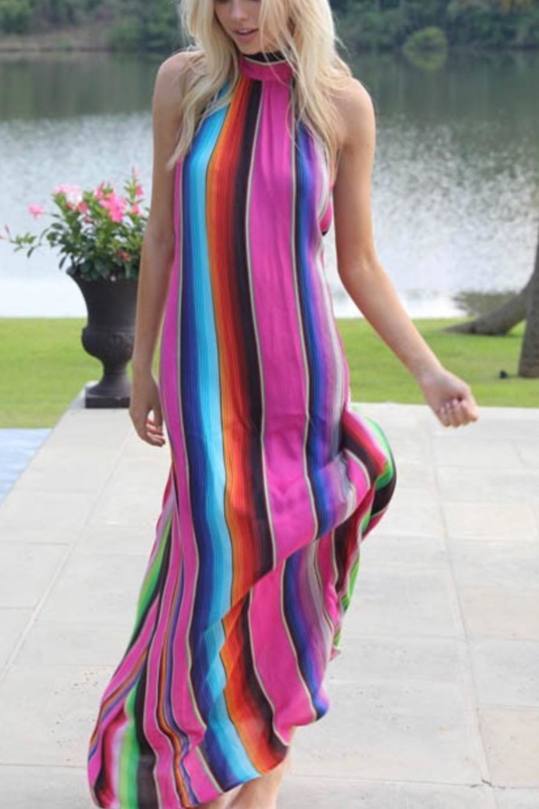 Judith March Multicolor Halter Maxi - Front Cropped Image
