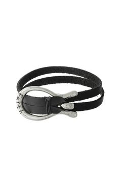 Shoptiques Product: Black Faux-Leather Bracelet