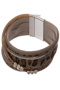 Judson & Co. Leather-Magnetic-Bracelet - Animal-Print - Alternate List Image