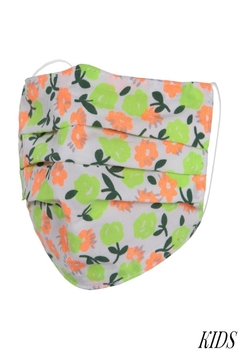 Judson & Co. Mask - Kids-Neon-Floral-Pleated - Alternate List Image