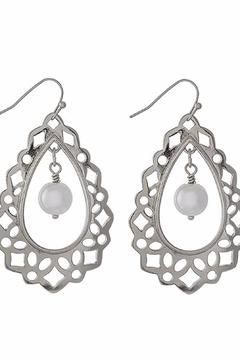 Shoptiques Product: Silver Pearl Earrings