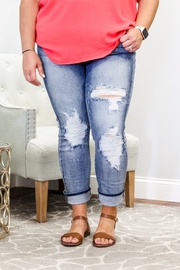 Judy Blue Bleach Splatter Boyfriend Jeans - Product Mini Image