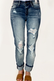 Judy Blue Destroyed Bleach Splatter Boyfriend Jean - Product Mini Image