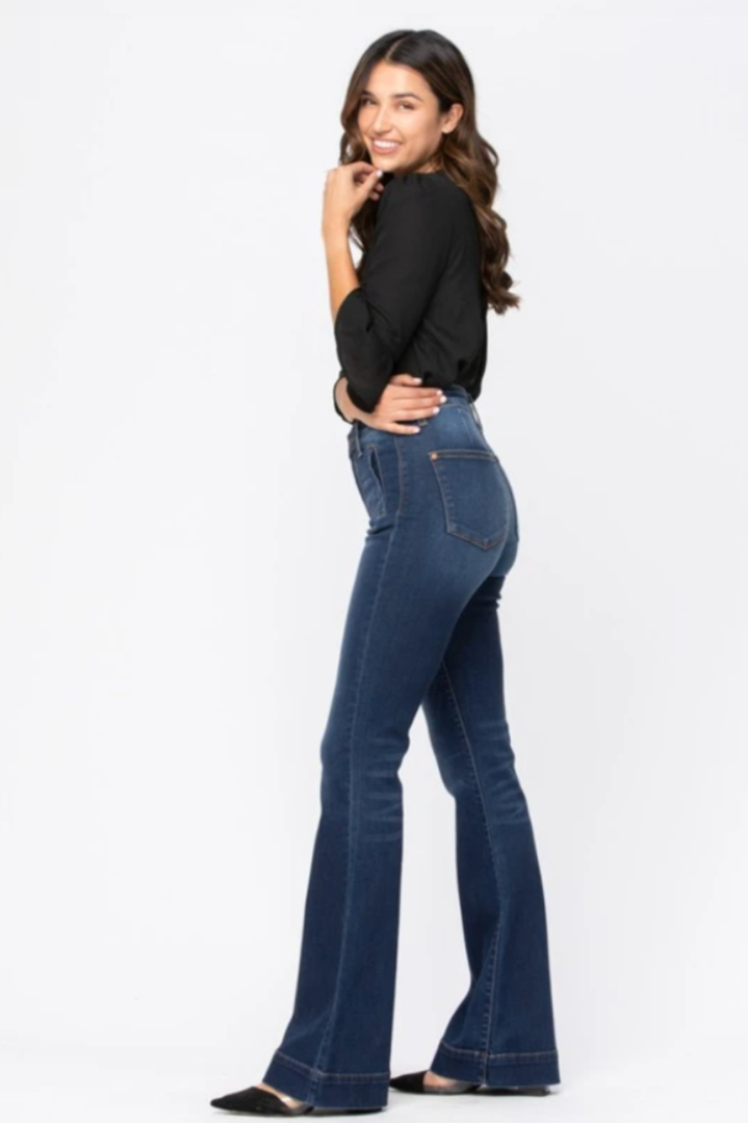Judy Blue Hi-Rise Trouser Flare - Side Cropped Image