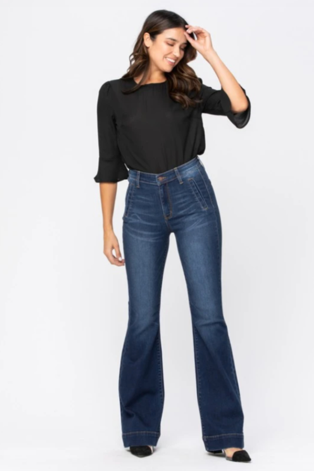 Judy Blue Hi-Rise Trouser Flare - Front Full Image
