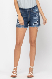Judy Blue Mid-rise Patch Cut Off shorts - Product Mini Image