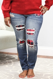 Judy Blue Plaid Patch Skinny Jeans - Front cropped