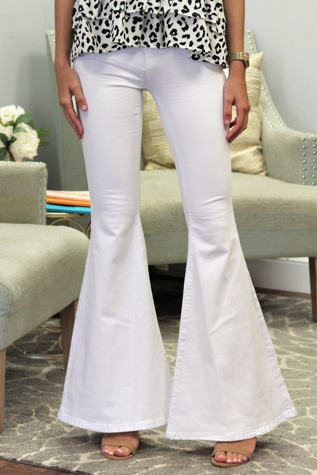 Judy Blue White Bell Bottoms - Main Image