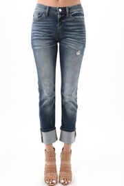 Judy Blue Cuffed Distressed Jeans - Product Mini Image