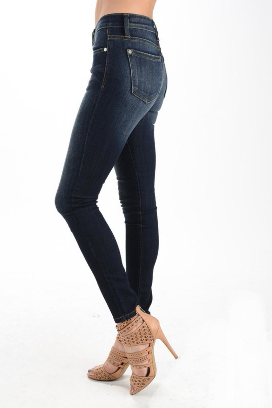 Judy Blue Dark Wash Skinnys - Side Cropped Image