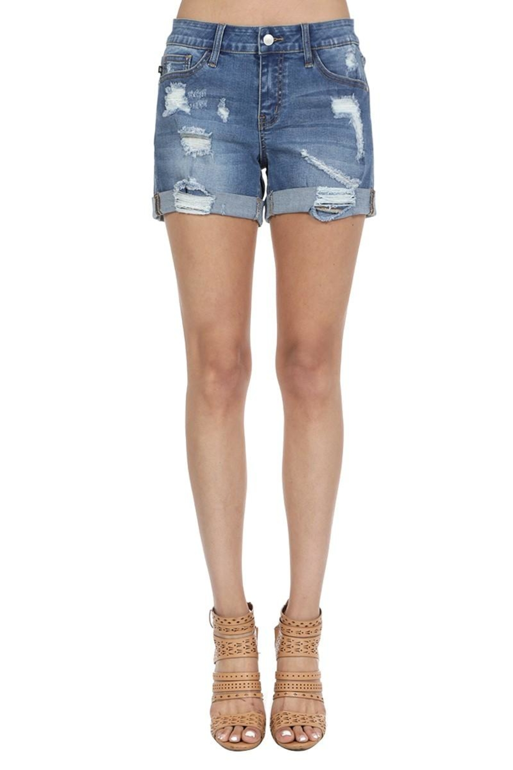 Judy Blue Destroyed Boyfriend Shorts - Front Cropped Image