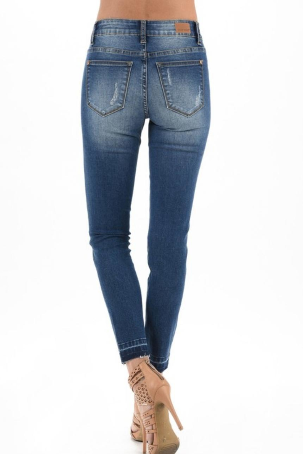 Judy Blue Distressed Leopard-Accent Jeans - Front Full Image