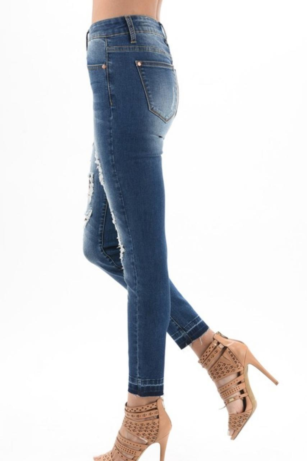 Judy Blue Distressed Leopard-Accent Jeans - Back Cropped Image