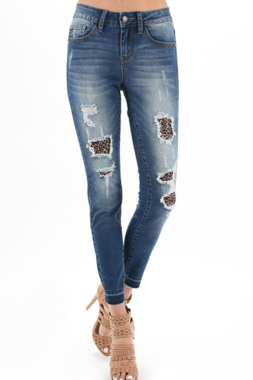 Judy Blue Distressed Leopard-Accent Jeans - Main Image