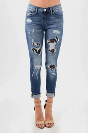 Judy Blue Leopard Patched Skinnys - Product Mini Image
