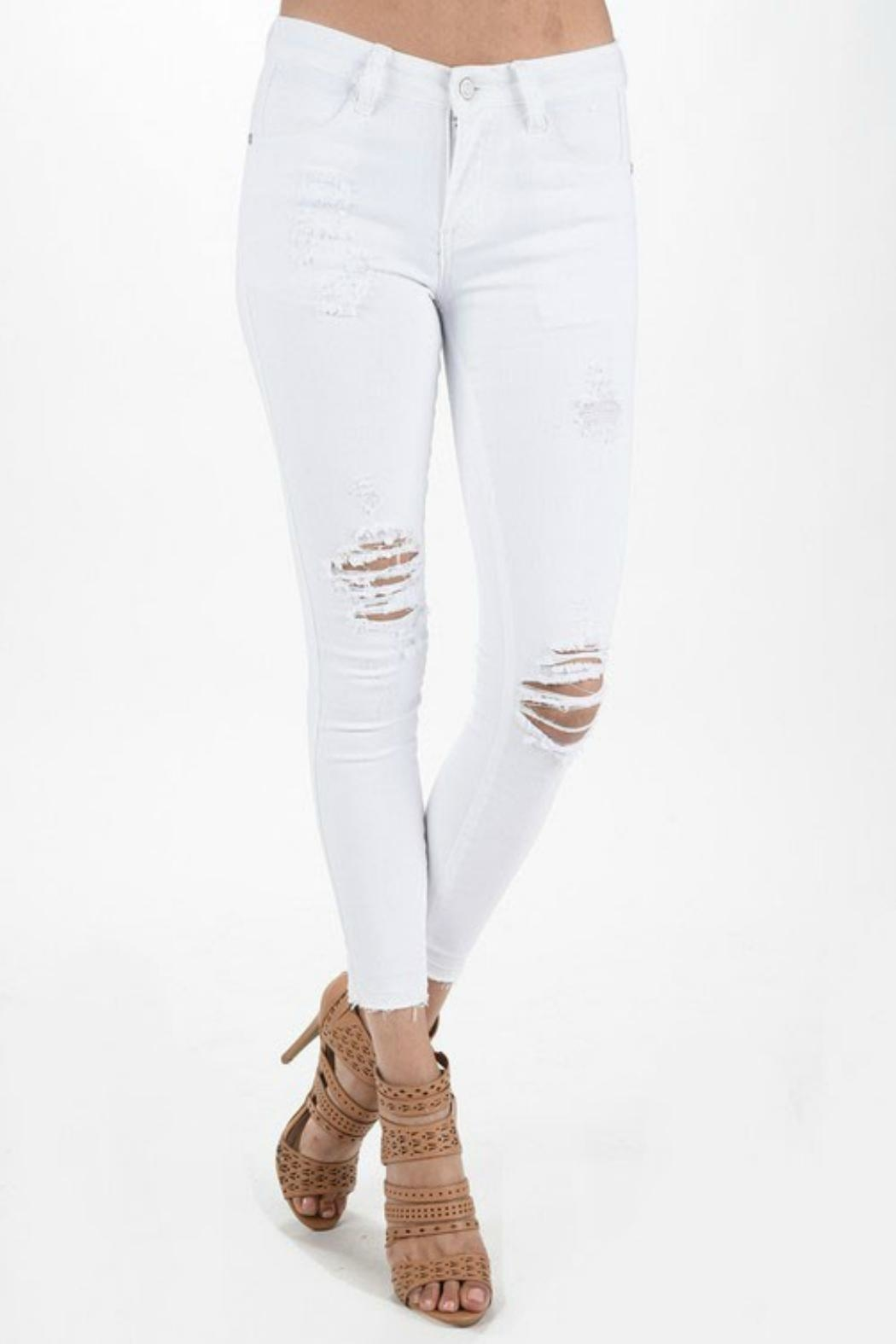 Judy Blue White Destructed Skinnys - Main Image
