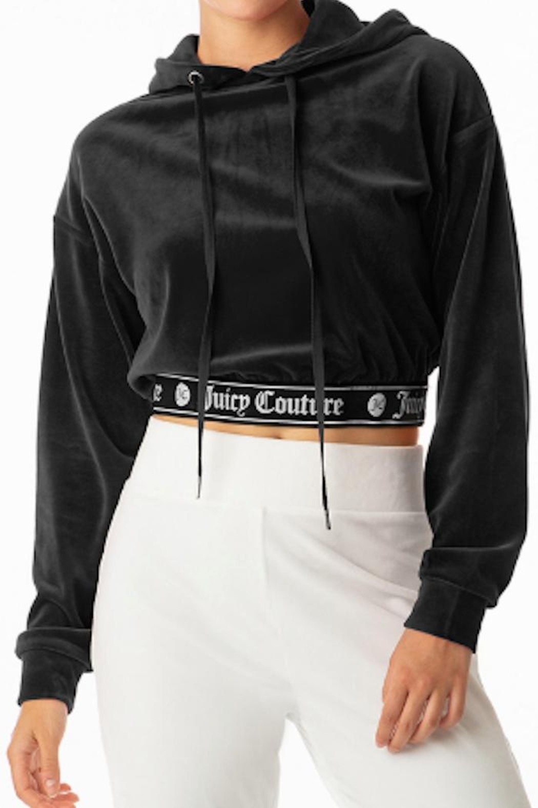 Juicy Couture Cropped Velour Hoodie - Front Cropped Image