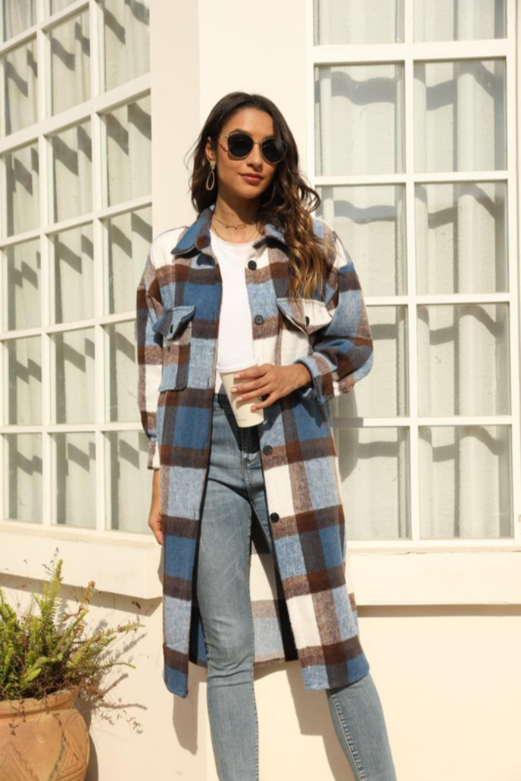 Miss Sparkling Jules Long Plaid - Front Cropped Image