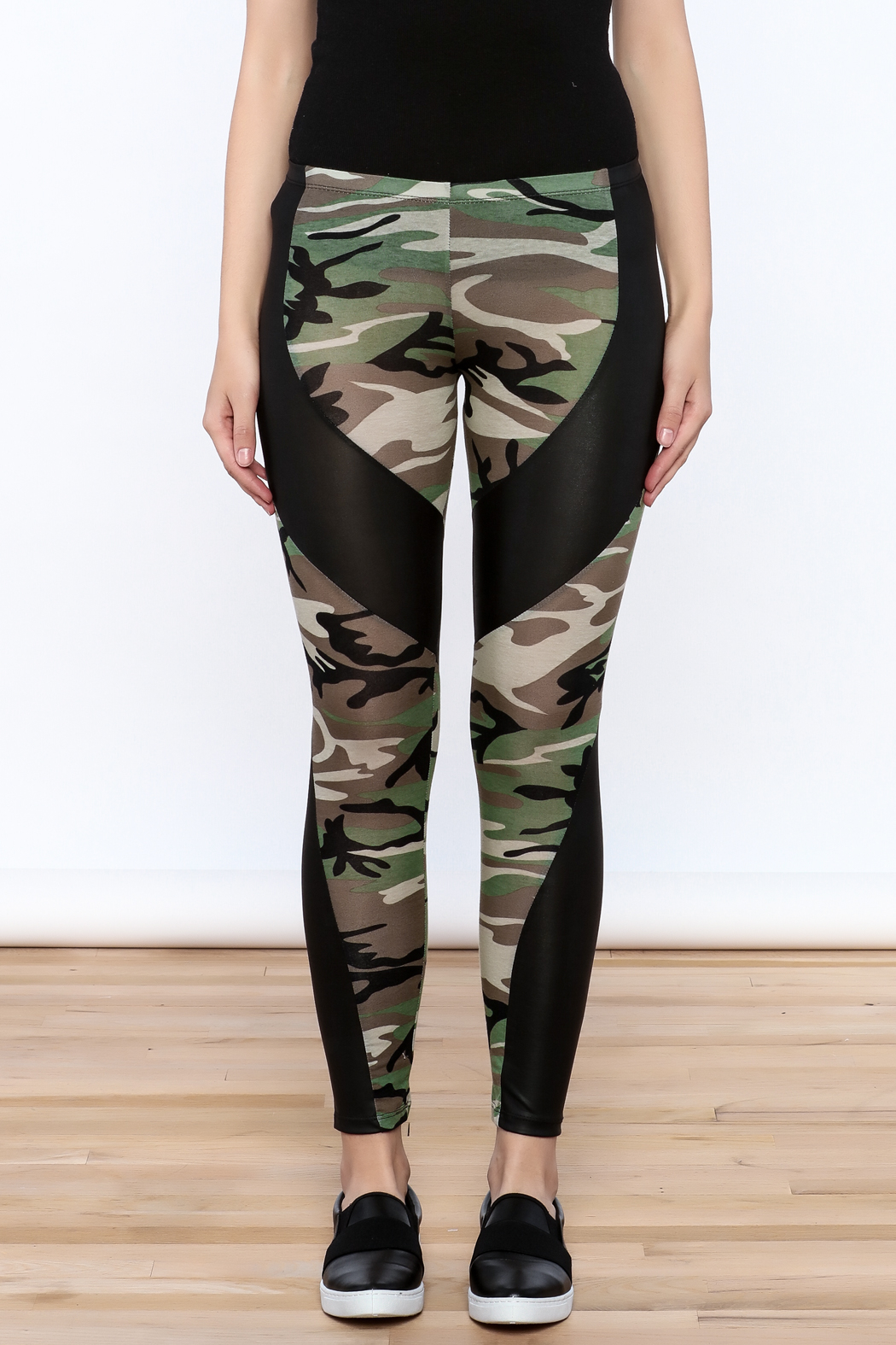 Julia Camouflage Print Leggings - Side Cropped Image
