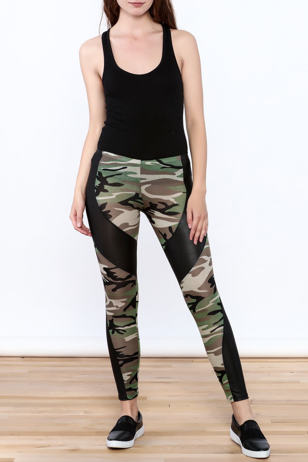 Julia Camouflage Print Leggings - Front Full Image