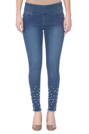 Lola Jeans Julia Pull-on Pearl Studded Ankle Hem Stretch Jeans - Product Mini Image