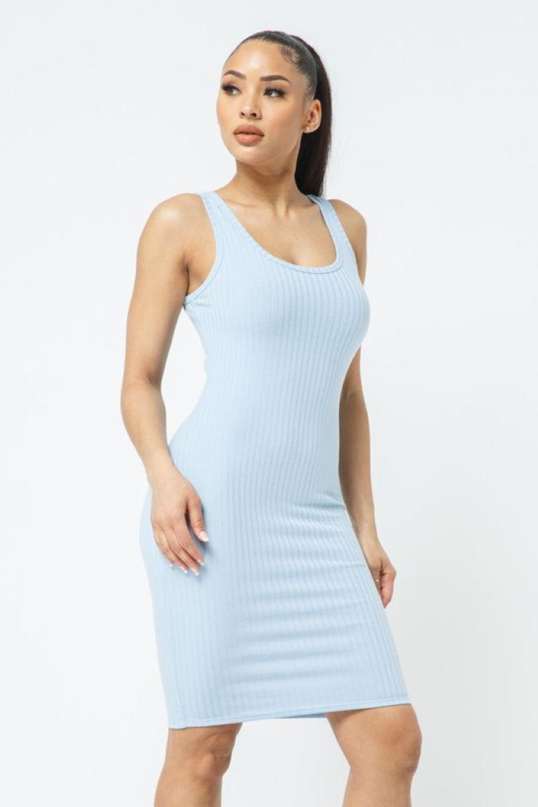 Julia Scoop Neck Bodycon Dress - Back Cropped Image