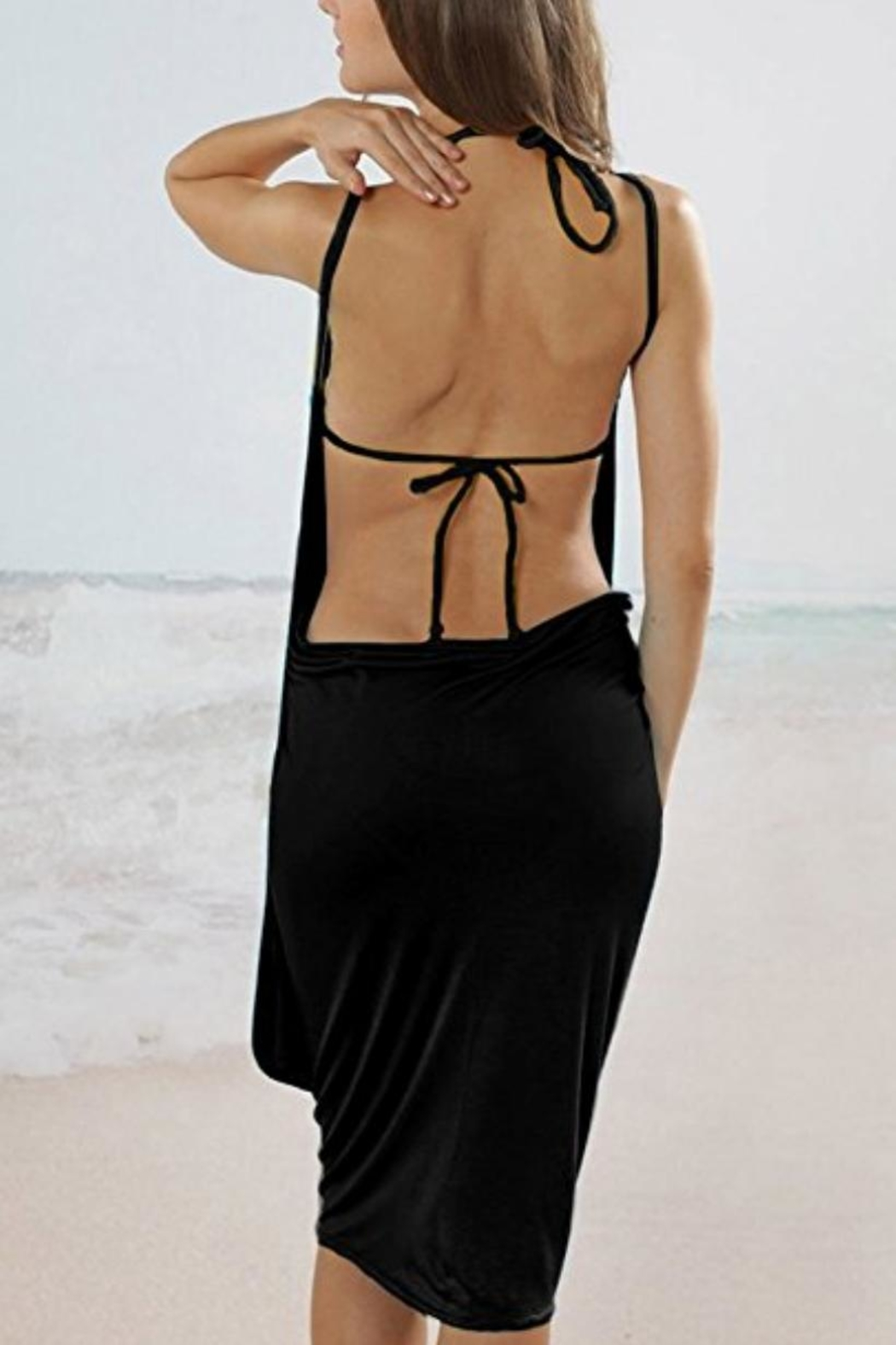 Julia Spaghetti-Strap Backless Beach-Dress - Front Cropped Image