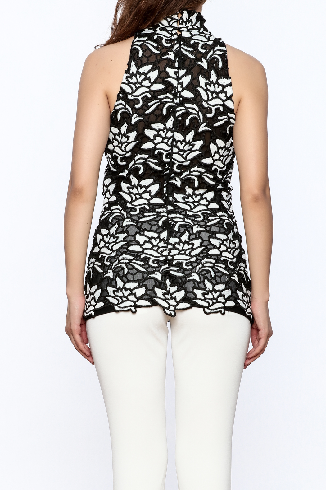 Julian Chang Black Floral Sleeveless Top - Back Cropped Image