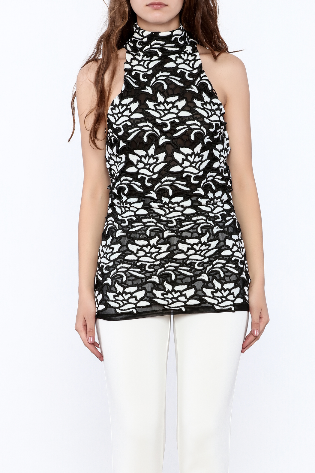 Julian Chang Black Floral Sleeveless Top - Side Cropped Image