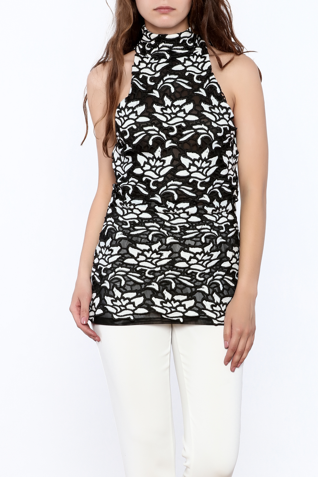 Julian Chang Black Floral Sleeveless Top - Front Cropped Image