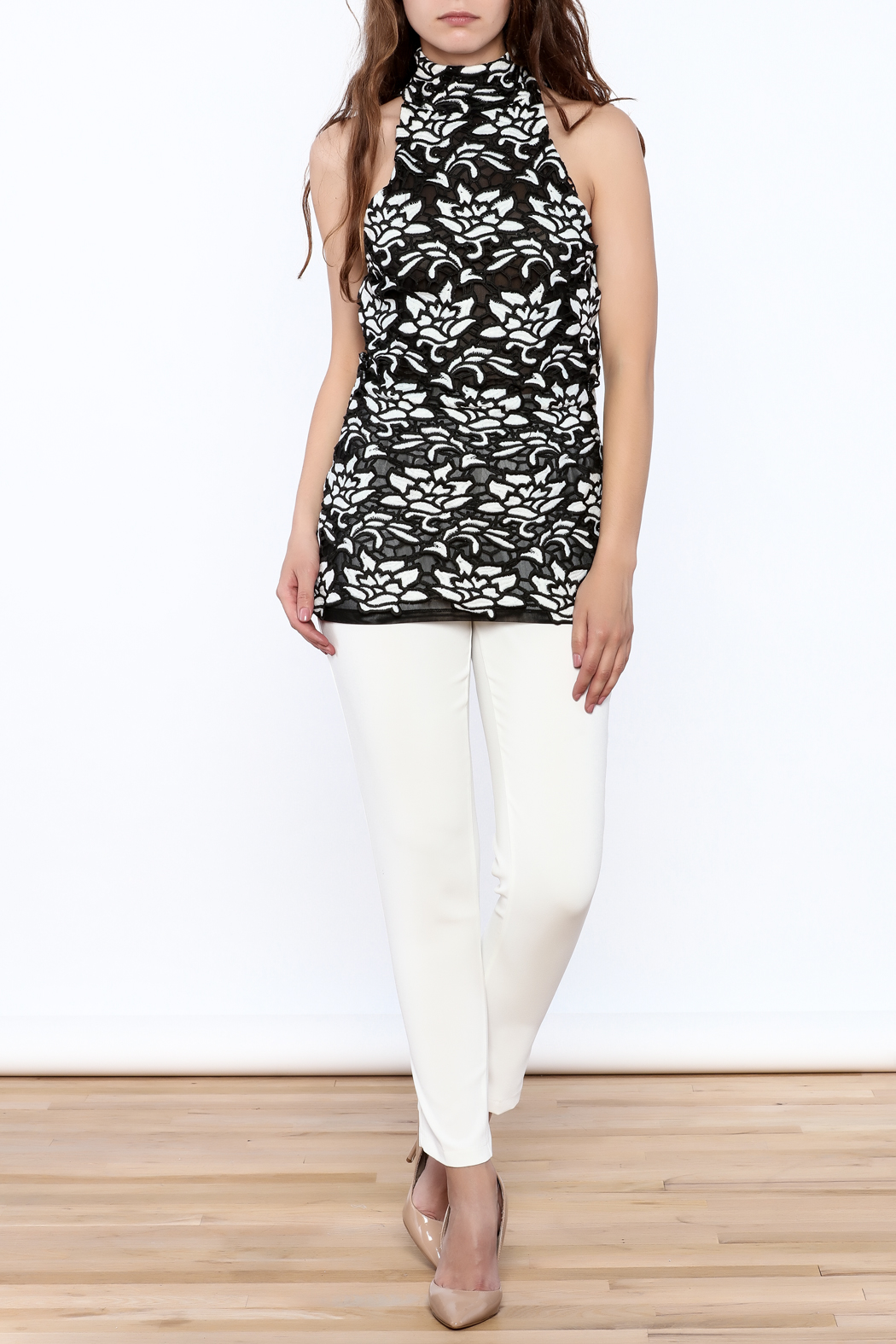 Julian Chang Black Floral Sleeveless Top - Front Full Image