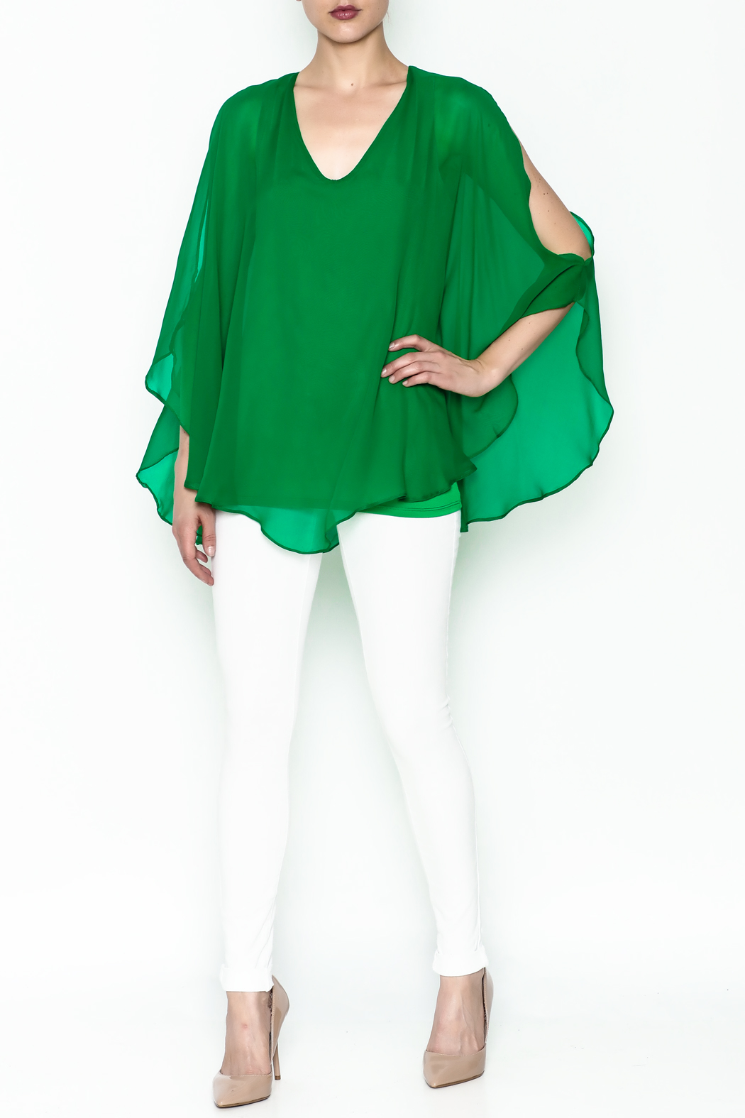 Julian Chang Sheer Overlay Blouse - Side Cropped Image