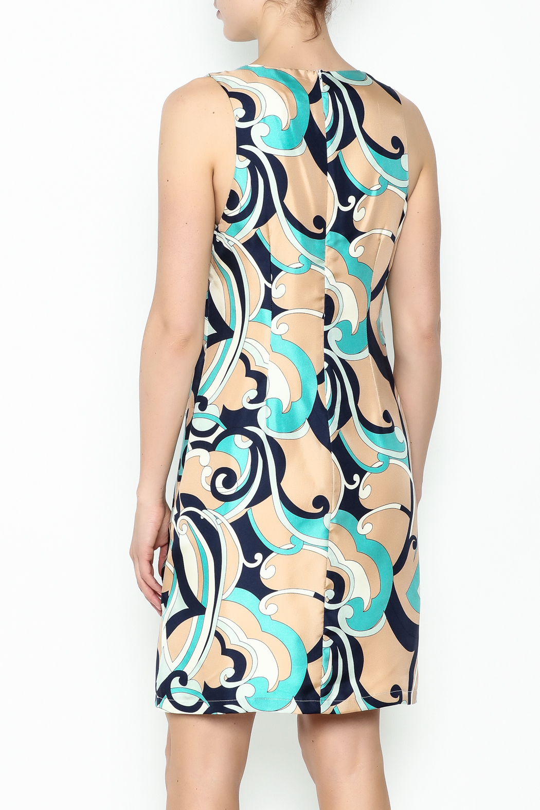 Julie Brown NYC Navy Swirl Leah Dress - Back Cropped Image