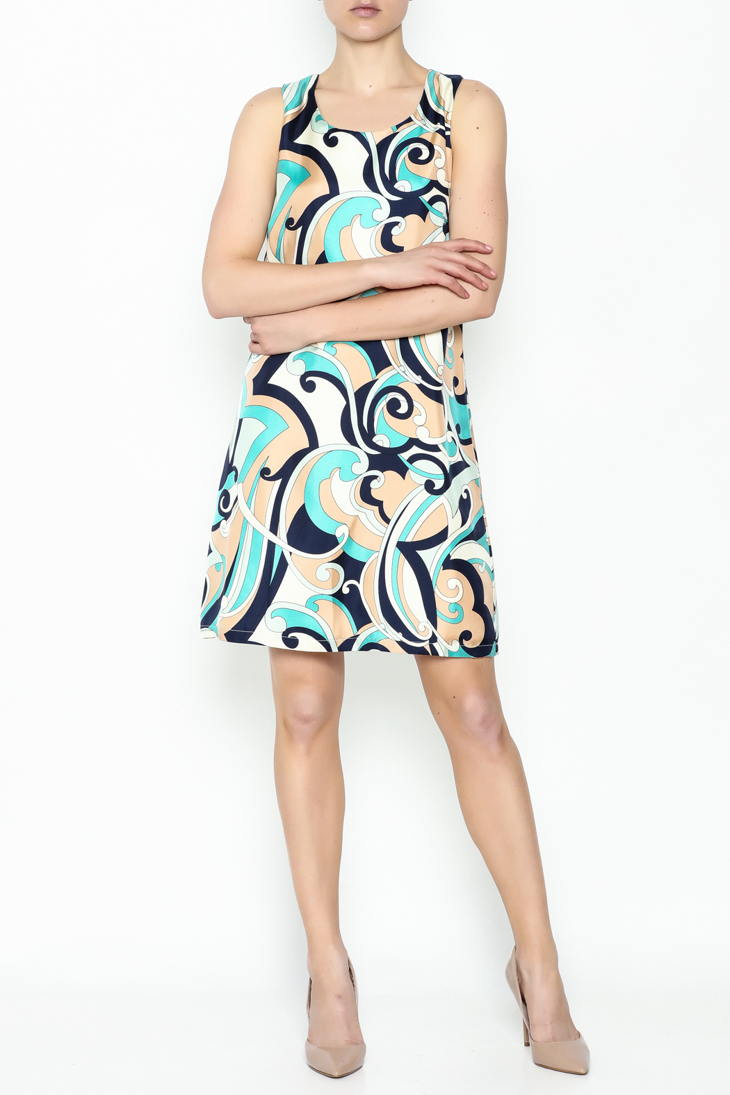 Julie Brown NYC Navy Swirl Leah Dress - Side Cropped Image