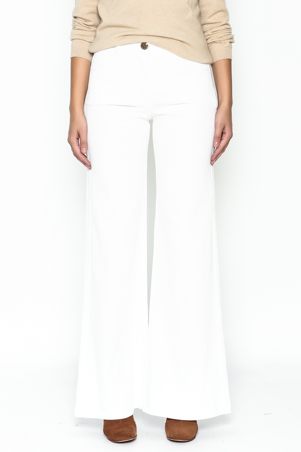 Julie Dorst White Denim Flare Pants - Front Full Image