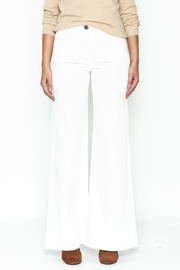 Julie Dorst White Denim Flare Pants - Front full body