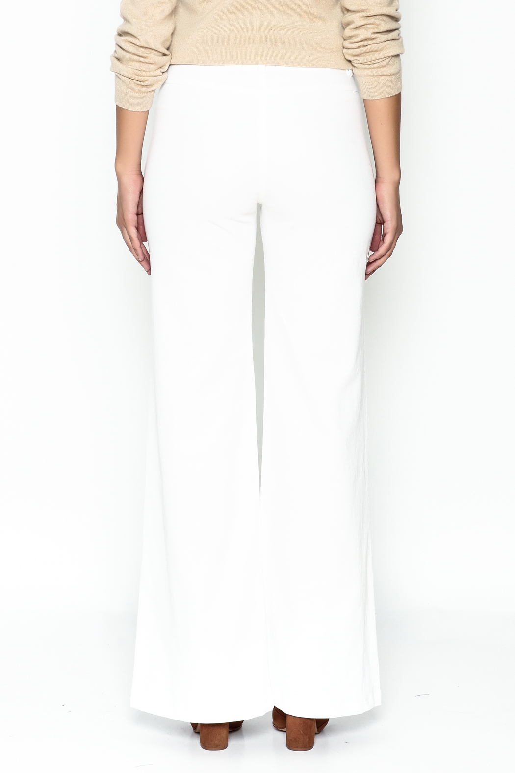 Julie Dorst White Denim Flare Pants - Back Cropped Image