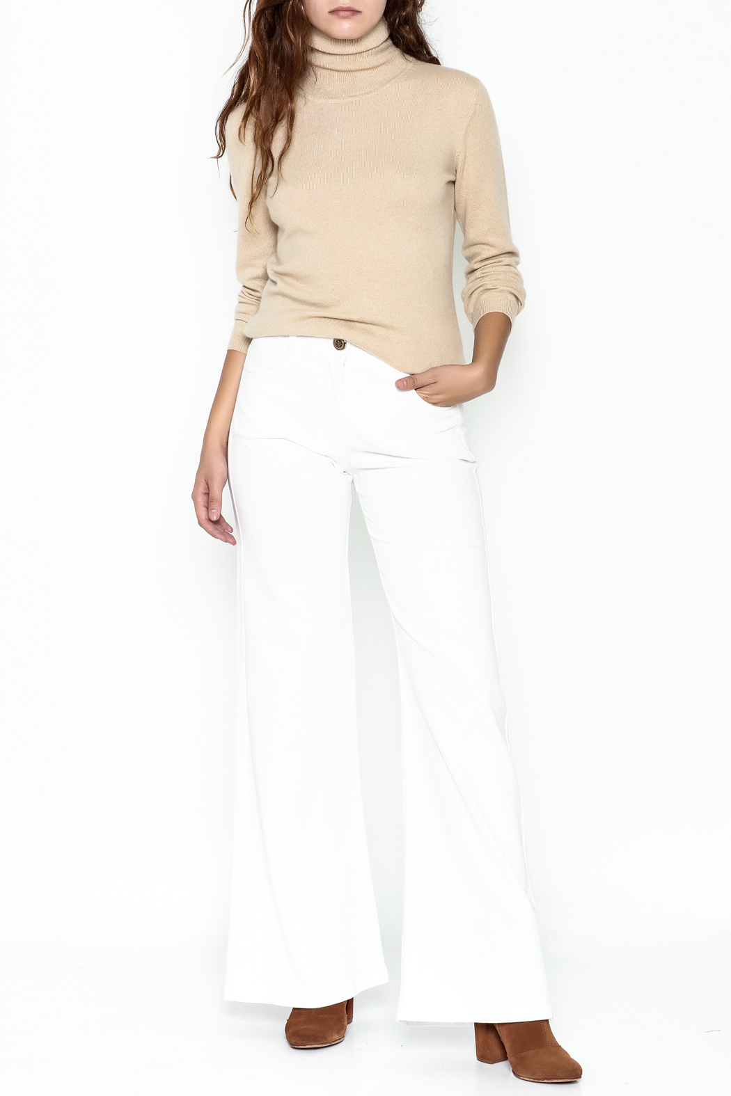 Julie Dorst White Denim Flare Pants - Side Cropped Image